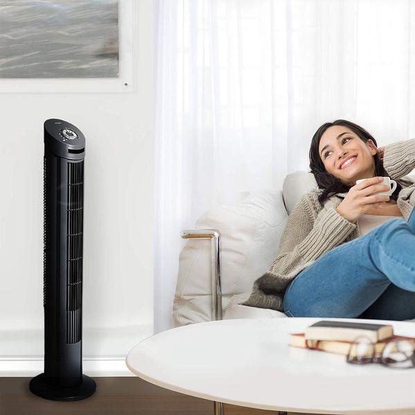 "FANS Oscillating Tower Fan, Black Color:Black Size:40"" , 13"""