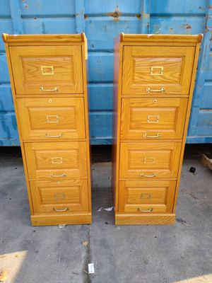 (2) KIMBALL OFFICE 4-DRAWER WOOD VERTICAL FILE CABINETS EXECUTIVE ELEGANT QUALITY OFFICE DRESSER BUSINESS COMMERCIAL INDUSTRIAL for Sale in La Mesa, CA