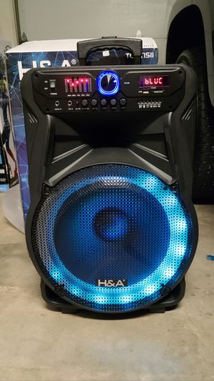 "New H&A 15"" woofers rechargeable Bluetooth 5,000 watts, fm, usb, sd, tf, sd, remote control, wireless mic for Sale in Riverside, CA"