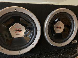 2 SONY XPLOD 1000w SubWoofer with box for Sale in San Jose, CA