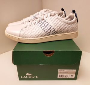 Lacoste casual shoes white blue stripe size 10 for Sale in North Springfield, VA