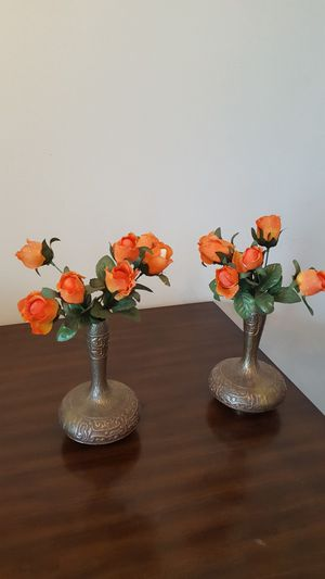 Matching Brass Vases w/Flowers for Sale in Silver Spring, MD