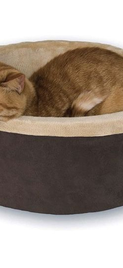 K&H Pet Products Heated Thermo-Kitty Heated Cat Bed Mocha/Tan Small for Sale in Seattle,  WA