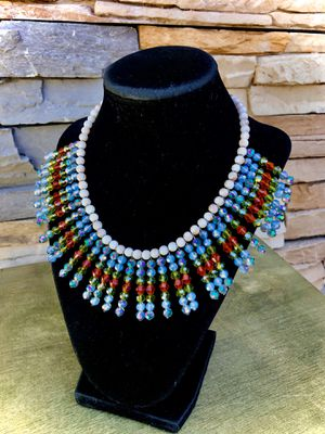 Vintage beaded bib necklace with Czech Crystal beads for Sale in San Bernardino, CA