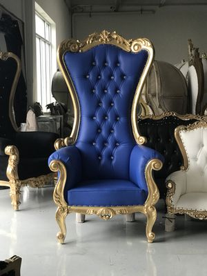 Free nationwide delivery | Gold leaf royal blue 6' throne chairs king queen princess royal baroque wedding event party photography hotel lounge bouti for Sale for sale  Atlanta, GA