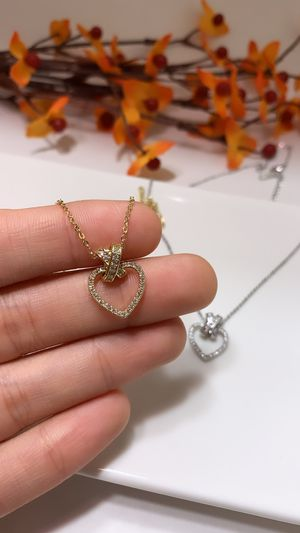 **NO FADE** Real Gold Plated Rhinestone Heart Pendant Necklace, Gold Color for Sale in Los Angeles, CA