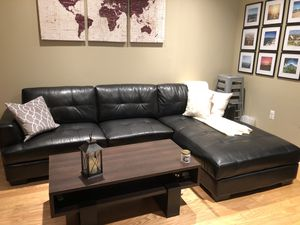 Dobson black leather sectional sofa couch for Sale in Hoboken, NJ