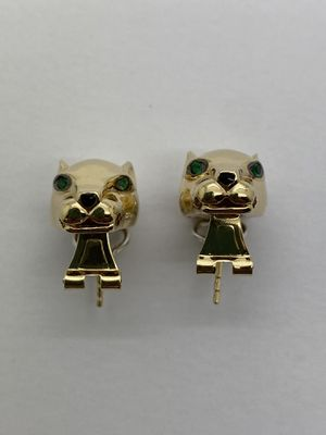 14k Yellow Gold Diamond and Panther Earrings for Sale in Wilton Manors, FL