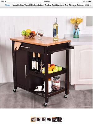 Rolling kitchen island with storage for Sale in Spring House, PA