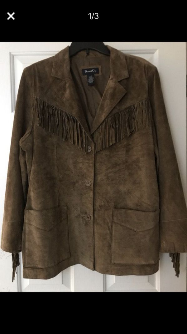 Women's 1X washable leather fringed coat