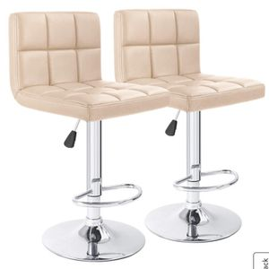 B101.Adjustable Armless Swivel Bar Stools With PU Leather Beige.New for Sale in Austin, TX