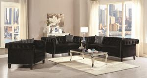 Brand New 2 Piece Black Velvet Sofa and Love Seat for Sale in Tracy, CA