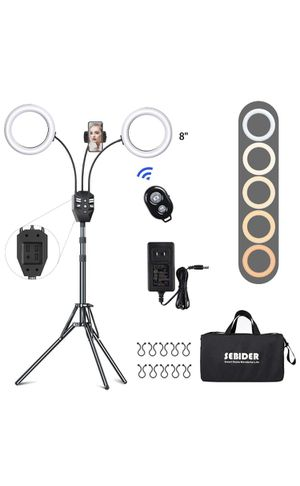 SEBIDER 8'' LED Ring Light with Tripod Stand & Phone Holder,Dual LED Ring Lights Dimmable with 5 Modes for Sale in Springfield, MA