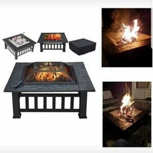 Outdoor Metal Fire Pit Square Table Heater BBQ Grill Fireplace Backyard Patio Garden Stove Wood Burn for Sale in Brooklyn, NY