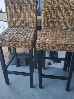 vidaXL 2 pcs Rattan Abaca Bar Stools High Chairs Solid Mango Wood Dark Brown for Sale in Chino,  CA