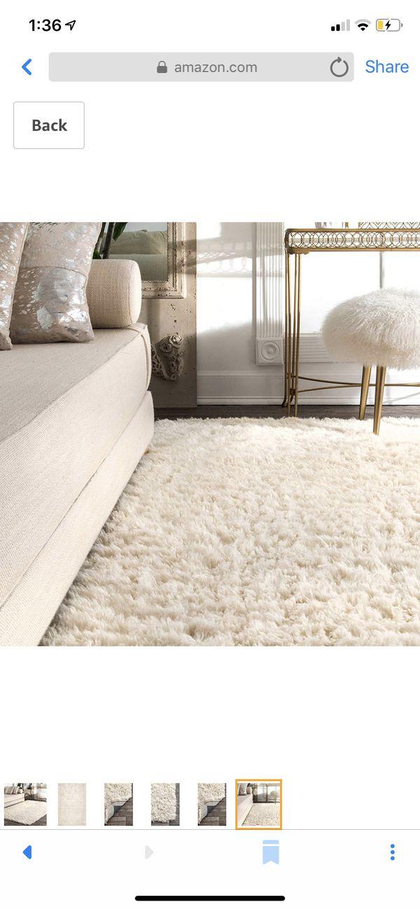 New 9x12 Nuloom Nida plush shag rug, solid ivory