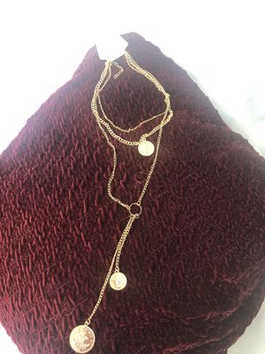 Women's Gold Tone Necklace With Fashionable Tiers And Coin Pendants for Sale in Whittier, CA