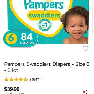 Pampers Swaddlers Diapers size 6 84 Count for Sale in Clovis, CA
