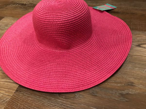 Hot pink wide brimmed sun hat NWT