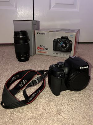 Canon EOS Rebel T6 kit (EF-S 18-55mm and EF 75-300mm Zoom Lenses) - Black for Sale in Arlington, VA