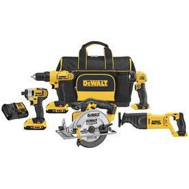 NEW Dewalt 5 20v Tool Set with Heavy Duty Carrying Bag - Includes 2 Batteries and Charger - Impact Driver, Drill, Sawzall, Circular Saw, LED Light for Sale in Nashville, TN