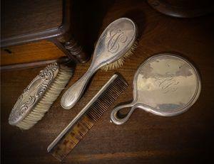 Monogrammed 1899! Original Vintage Antique Beaded Engraved Silver Dresser Set w/ Mirror, Gentlemen/Ladies Shoe Hair/Shoe Brush, Tortoiseshell Comb for Sale in San Diego, CA