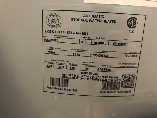 Gas Water Heater 50 Gallons