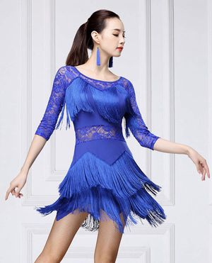 Women Fringed Latin Costume Lace Neck Tango Rumba Latin Dance Dress with Shot M for Sale in Riverview, FL