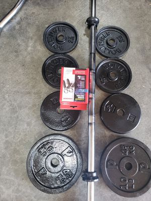 Heavy short bar with quality weights for Sale in Lake Stevens, WA