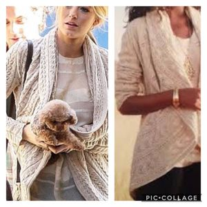 "CAbi Circle Sweater Shawl collar crochet cardigan Oatmeal off white/neutral color 20"" across underarms 23"" shoulder to bottom of sleeve 28"" should for Sale in Phoenix, AZ"