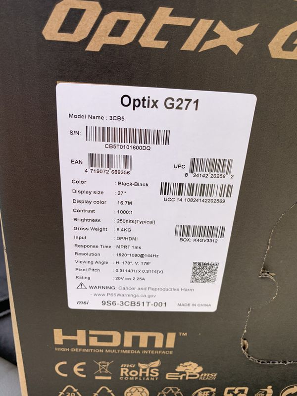 MSI Optix G271 144hz, 1ms, 1920x1080 Full HD FreeSync technology, IPS gaming monitor, VESA, frameless design Brand new in box.