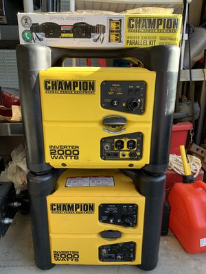 2-2000 watt champion stackable generators with connector kit 2 years old $1050 new used 3 Times for Sale in Yorkville, IL