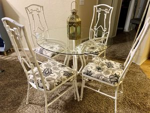 Antique Iron Patio Table and Four Chairs for Sale in Kent, WA