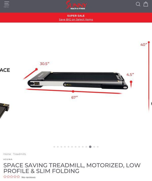 MINIMALIST ASUNA SPACE SAVING TREADMILL, LOW PROFILE & SLIM FOLDING New Open Box Price in store 839