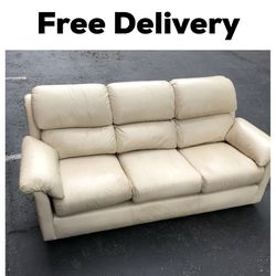 Beige White Sectional Couch Sofa Clean Leather Brand New for Sale in Seattle,  WA