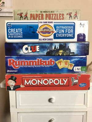 Popular Board Games of All Time - Monopoly, Rummikub, Clue, Cranium, Paper Puzzles for Sale in Edgewater, NJ