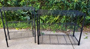 "Set of 2 Indoor / Outdoor Storage / Garage Black 3 Level Wired Metal Shelving Units 36"" x 16"" x 26"" / 13"" x 23"" x 30"" for Sale in Jacksonville, FL"