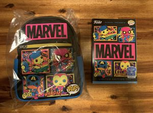 Marvel black light funko pop bundle (backpack and tee) for Sale in Chico, CA