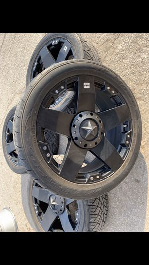 "22"" XD Rockstar black Rims and Nitto 420 Tires ! 6 Lug Universal 22s Wheels Will fit Ford f150, Chevy Silverado , GMC Sierra , Toyota Tundra / Tacoma for Sale in Dallas, TX"
