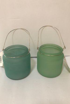 Set of two Opaque glass tabletop decor/candle holders for Sale in Las Vegas, NV