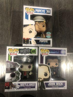 Funko Pops John Wick, Beetlejuice & Popeye for Sale in Fontana, CA