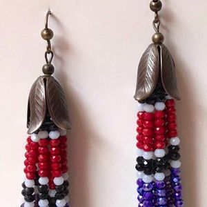 Long Crystal Beaded Tassel, Drop Dangling Earrings, Very Long Sparkling Crystal Multi Colored Earrings, Tassel Earrings Dangle Earring for Sale in Apex, NC