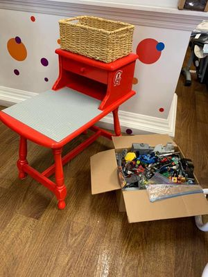 Custom made wood LEGO table with box full of LEGO for Sale in Laguna Woods, CA