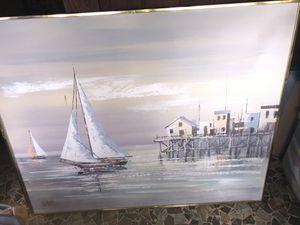 "50"" x 40"" framed hand painted art boating sailing scene Lee Reynolds for Sale in Lakeland, FL"