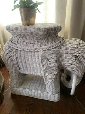 Boho | Wicker | elephant | side table | plant stand | end table for Sale in Siler City, NC