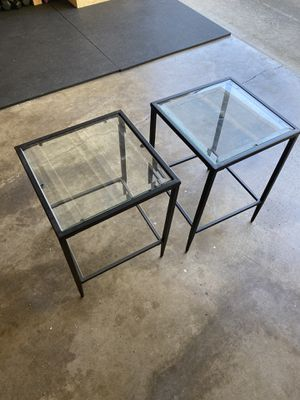 Pair of metal + glass end tables for Sale in Sacramento, CA