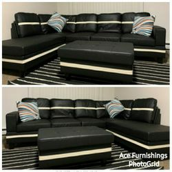 Brand New Black Leather Sectional With Storage Ottoman for Sale in Spanaway,  WA