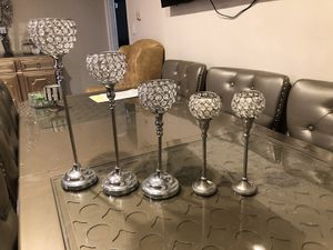 Rhinestone candle holder 5set (big to small) for Sale in Los Angeles, CA
