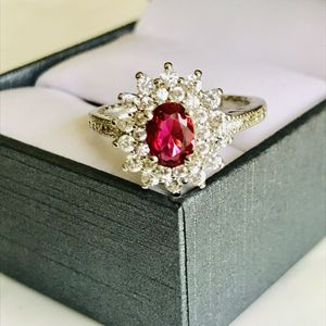 925 silver oval cut ruby Wedding engagement ring women's jewelry accessory sz 7 for Sale in Colesville, MD