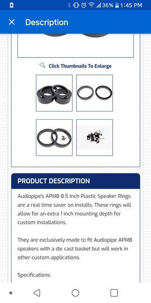 Plastic speaker mounts for 8 inch speakers for Sale in Sandston, VA